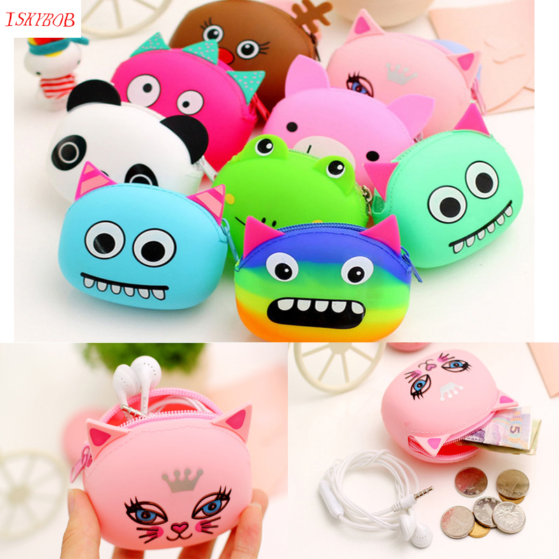 3D Cartoon Animal Candy Colored Girls Coin Bags Women Key Wallets Children Cute Cartoon Mini Coin Purse for Earphone Headphone cartoon animal women watch