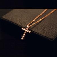Cyrkon kryształ krzyż biżuteria złote cienkie pingente naszyjniki kobiety kostium akcesoria gargantilha com ketting wieszak