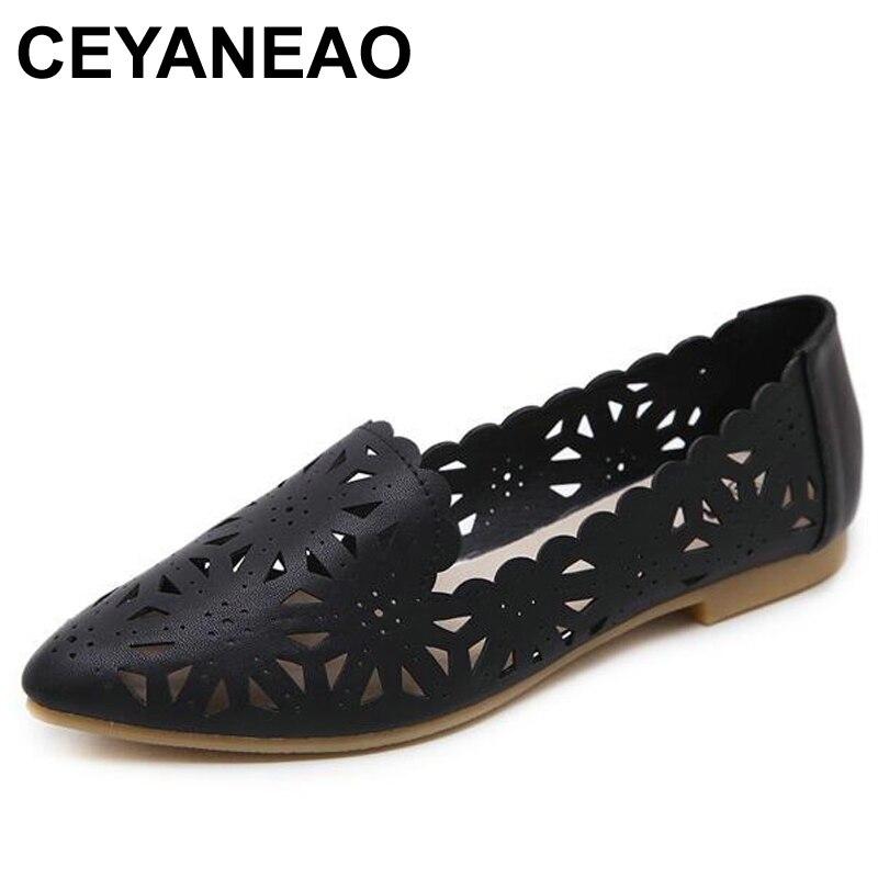 100% QualitäT Ceyaneaonew Damen Sandalen Schuh Frau Echtem Leder Flache Schuhe Mode Hand-genäht Leder Faulenzer Weiblichen Loch Schuhe Frauen E977 Tropf-Trocken