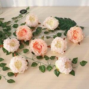 Image 1 - 50 sztuk sztuczne kwiaty głowy hortensja piwonia kwiat głowy jedwab sztuczny ściana kwiatów na ślub tło dekoracji ściany