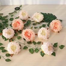 50Pcs פרחים מלאכותיים ראשי הידראנגאה אדמונית פרח ראשי משי פרחים מלאכותיים קיר לחתונה קישוט רקע קיר