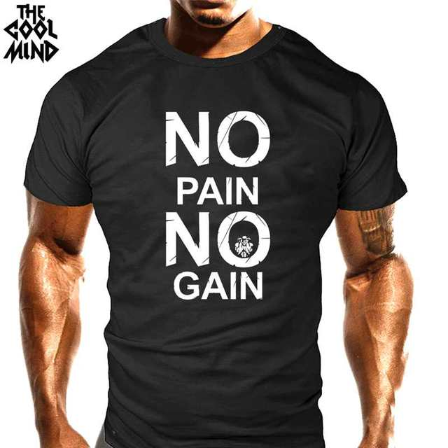 COOLMIND CR0121A cotton no pain no gain print men T shirt casual body building o-neck men Tshirt short sleeve T-shirt tee shirt