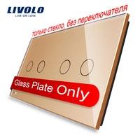 Livolo Luxury Golden Pearl Crystal Glass 151mm 80mm EU Standard Double Glass Panel VL C7 C2