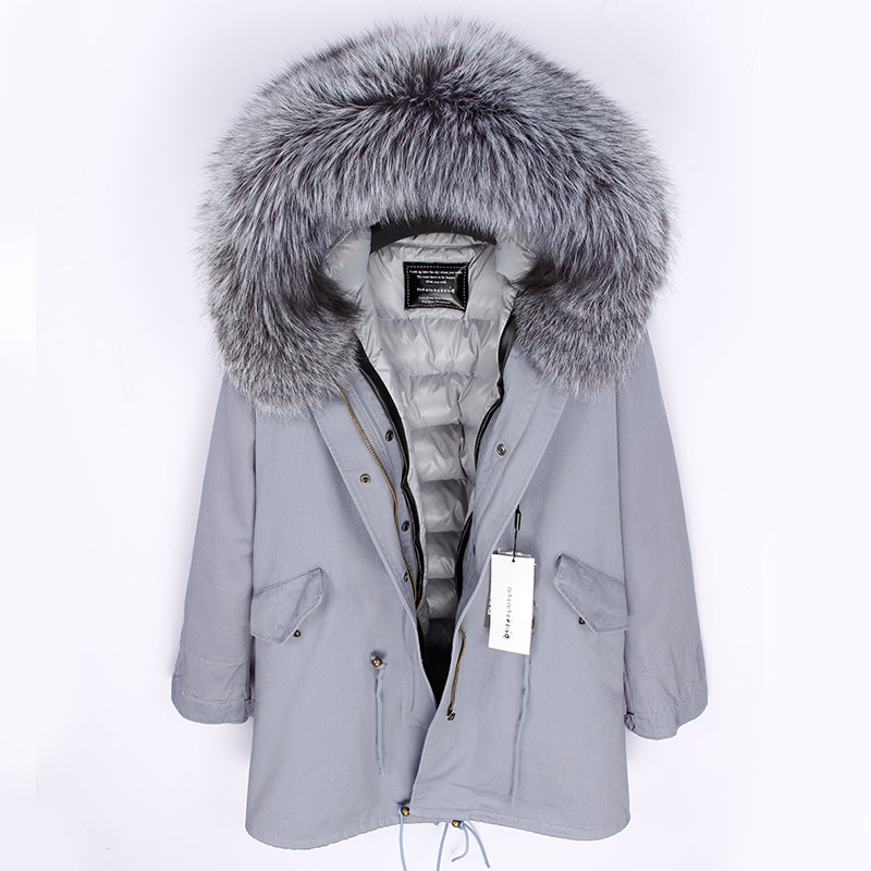 2018 Winter Jacket Women Real Fur Coat Long Parka Silver Parkas Real Raccoon Fur Duck Down Coat Thick Warm Outerwear Top Brand