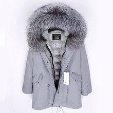 Зимняя куртка, Женское пальто с натуральным мехом, длинная парка, серебристая парка, натуральный мех енота, утиный пух, пальто, Толстая теплая верхняя одежда, Топ бренд