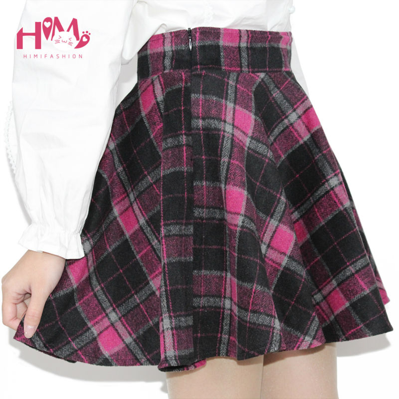 Womens Winter Woolen Skirt Party High Waist College Style Lattice Tutu skirt With Lining 5 Colors Pleated Plaid Skirt For Lady (6)