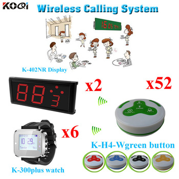 Wireless Restaurant Calling System 52 Pieces Waiter Call Buzzers 6 Pieces Wrist Watch Pager And 2 Pieces Big Display