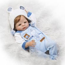 NPK 56cm full silicone reborn dolls boys Bathe doll toy for girls 22inch Hot Style BEBE alive all vinyl New Year's toys Pacifier все цены