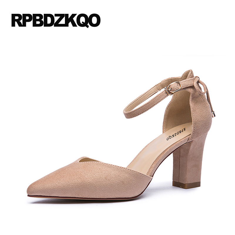 Black Small Size 4 34 Pink Pointed Toe Elegant Shoes Chic 7cm 3 Inch High Heels Ankle Strap Block Pumps Bow Women 2017 Spring pointed toe dress shoes ladies pumps high heels ankle strap footwear 4 34 small size crystal stiletto 2017 7cm 3 inch silver