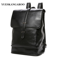 YUES KANGAROO Men Brand Leather High Quality Rucksack Business Men S Travel Laptop Backpack Casual Style