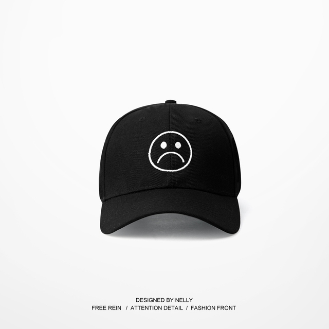 2017 Casquette Шляпы Регулируемые Грустное Лицо Шаблон Бейсбол Хип-Хоп Hearwear Harajuku Скейтборд Кривой Полями Гольф Snapback Caps