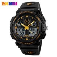 SKMEI Men Dual Display Wristwatches Quartz Digital LED Electronic Sports Watches Clock Watwrproof Relogio Masculino Relojes