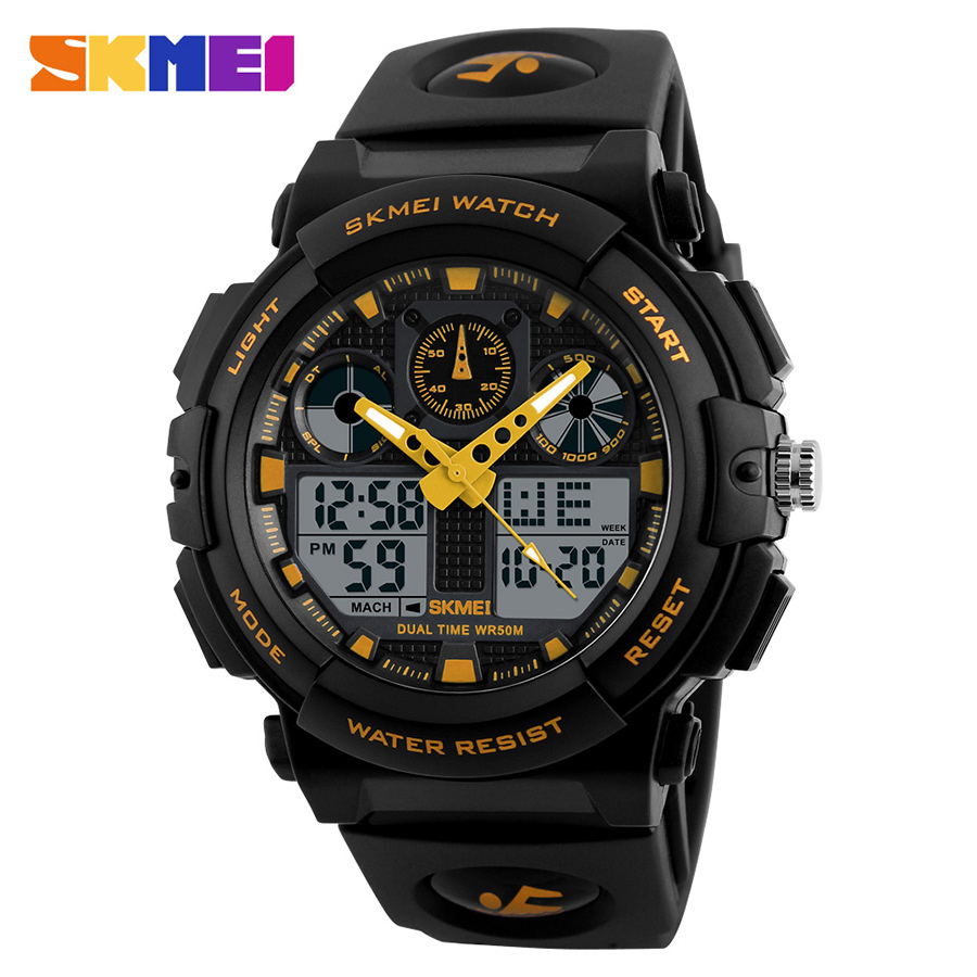 купить SKMEI Brand Men Quartz LED Digital Sports Watches Dual Display Wristwatches Clock 50M Watwrproof Relogio Masculino Relojes 1270 недорого