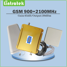 Dual band repetidor de sinal de Celular 2g 3g EDGE/HSPA 900 Mhz 2100 Mhz GSM WCDMA UMTS reforço de sinal conjunto completo com Antena e cabo