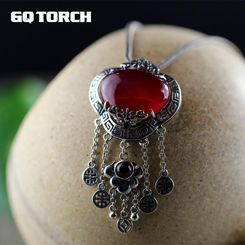 Real 925 Sterling Silver Pendant For Women Handmade Tassels Inlaid Natural Red Ruby Gemstone Bijoux FemmeReal 925 Sterling Silver Pendant For Women Handmade Tassels Inlaid Natural Red Ruby Gemstone Bijoux Femme