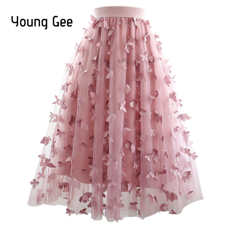 Young Gee Summer Fashion Womens Butterfly Appliques Skirts High Waist Elegant Pleated Skirts Waist Elastic vestidos Feminina