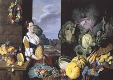 Sir Nathaniel Bacon: Cookmaid with Still Life of Vegetables and Fruit SILK POSTER Decorative painting  24x36inch
