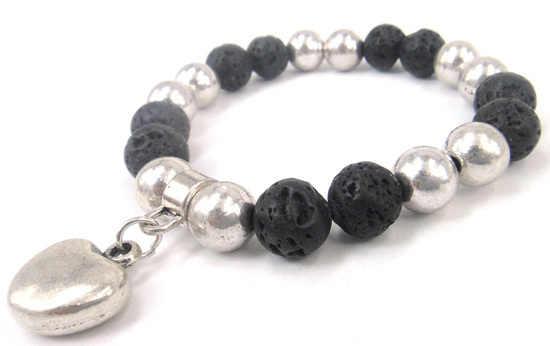 Darmowa wysyłka moda naturalne półszlachetny kamień lawa bransoletka z serca urok metalowe kobiet lub mężczyzn bransoletka