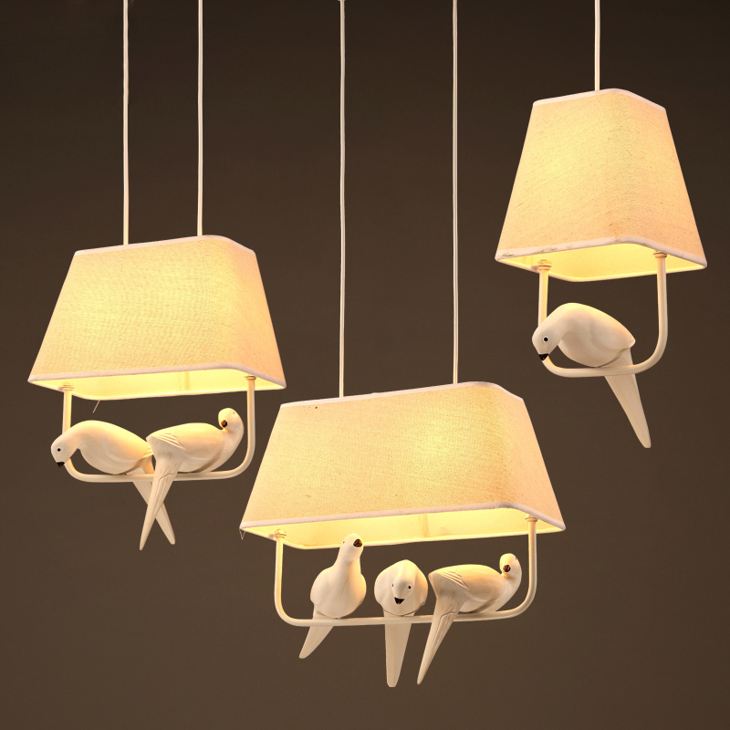 Modern Resin Bird Hanging Light Fabric Shade Pendant Lamp Bedroom Foyer Balcony Dining Room Artistic Lighting Pl567 In Lights From