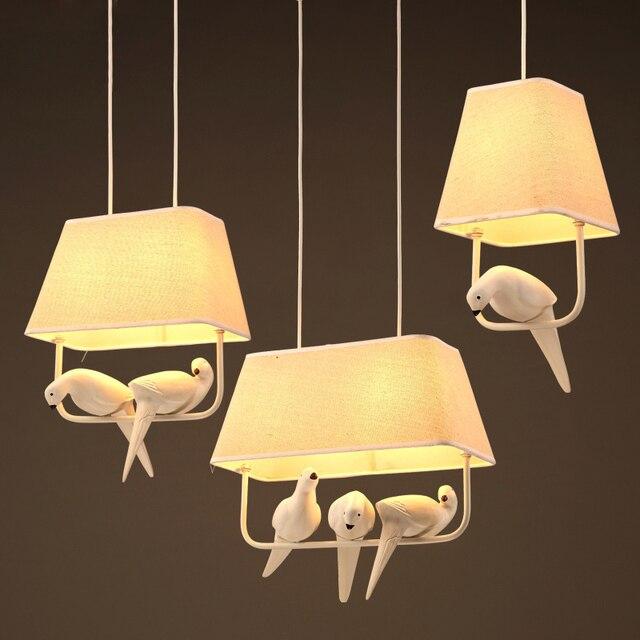 Modern Resin Bird Hanging Light Fabric Shade Pendant Lamp Bedroom Foyer Balcony Dining Room Artistic Lighting Pl567