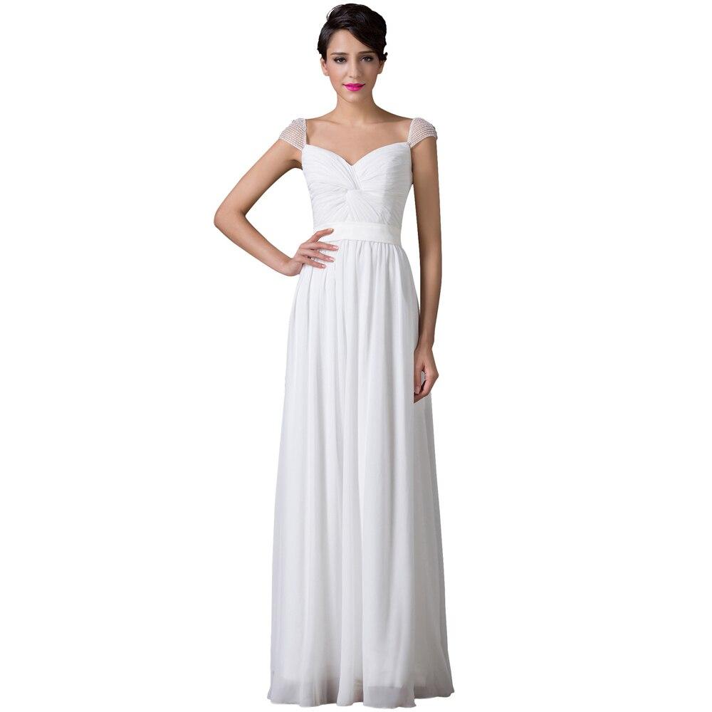 Vestidos Women Cap Sleeve Floor Length Long White Bridesmaid Dresses ...