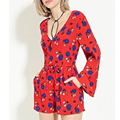 2017 Red Floral Printed  Rompers Womens Jumpsuit Flare Sleeve V Neck Drawstring Waist Summer Jumpsuit Playsuit Short JHWM117