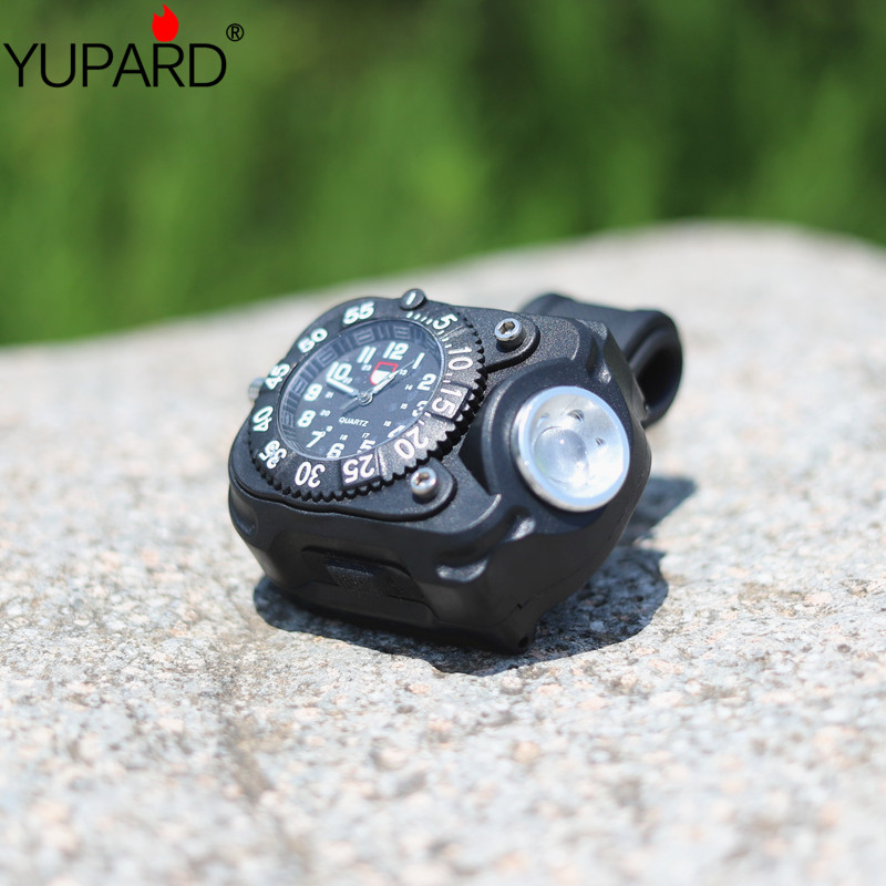 YUPARD 5 Modes FlashLight built-in Rechargeable <font><b>Q5</b></font> LED <font><b>Watch</b></font> Wristlight Waterproof Wrist Lighting Lamp Tactical Compass torch image
