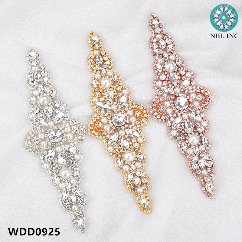 30pcs Rhinestone Applique Accessory for wedding belt rose gold clear crystal beads sewing on bridal sashes