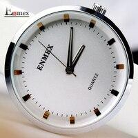 2017 מתנה לליידי Enmex לבן שעוני יד טהורים עיצוב פשוט טרי בסגנון נקי היפה ליידי אופנה שעון קוורץ שעונים