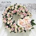 Искусственный дверной молоток JAROWN  имитация шелковых роз  венок из пенопласта  соломенная гирлянда  свадебное украшение  домашний декор для...