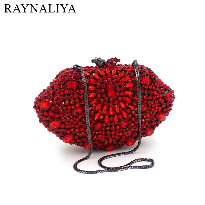 Red Crystal Bag Female Pochette Purse Luxury Diamond Women Party Clutch Bag Colorful Evening Bags Prom Handbags SMYZH-F0133 winmax popular luxury evening bag sparkly crystal women party bag colorful butterfly pattern ladies dinner bag prom clutch purse