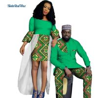 Осень Африканский принт пряжи платья для Для женщин Базен Мужская рубашка и брюки наборы Lover пары одежда в африканском стиле Дизайн Костюмы