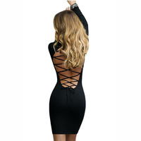 Long Sleeve Off Shoulder Stretchy Cotton Sexy Club Dress 2017 Winter Spring Warm Women Casual Mini