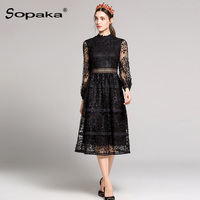 2018 Spring High Quality Black Lace Sleeve Mid Dress For Woman Empire Floral Embroidery Hollow Out Designer Midi Women Dress