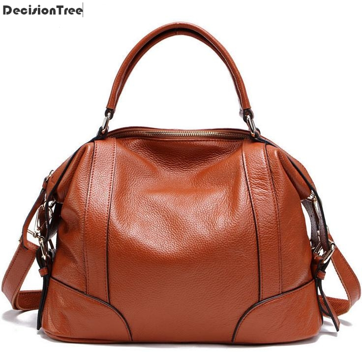 Fashion Women Handbags 100% Genuine Leather Casual Tote Female Shoulder Bags New Arrive Solid Zipper Messenger Bags new 100% handmade woven leather handbags tote women shoulder bags with detachable zipper pouch