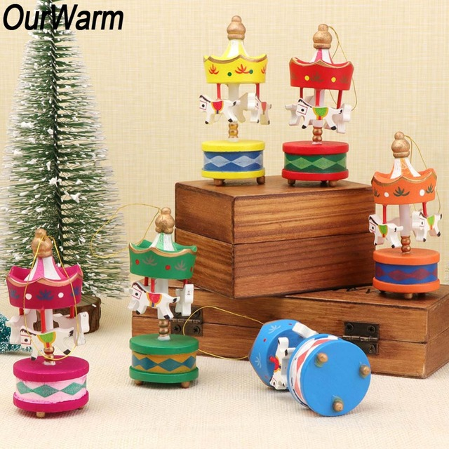 Christmas Carousel 2019 OurWarm 12Pcs New Year 2019 Christmas Tree Hanging Ornaments Wood