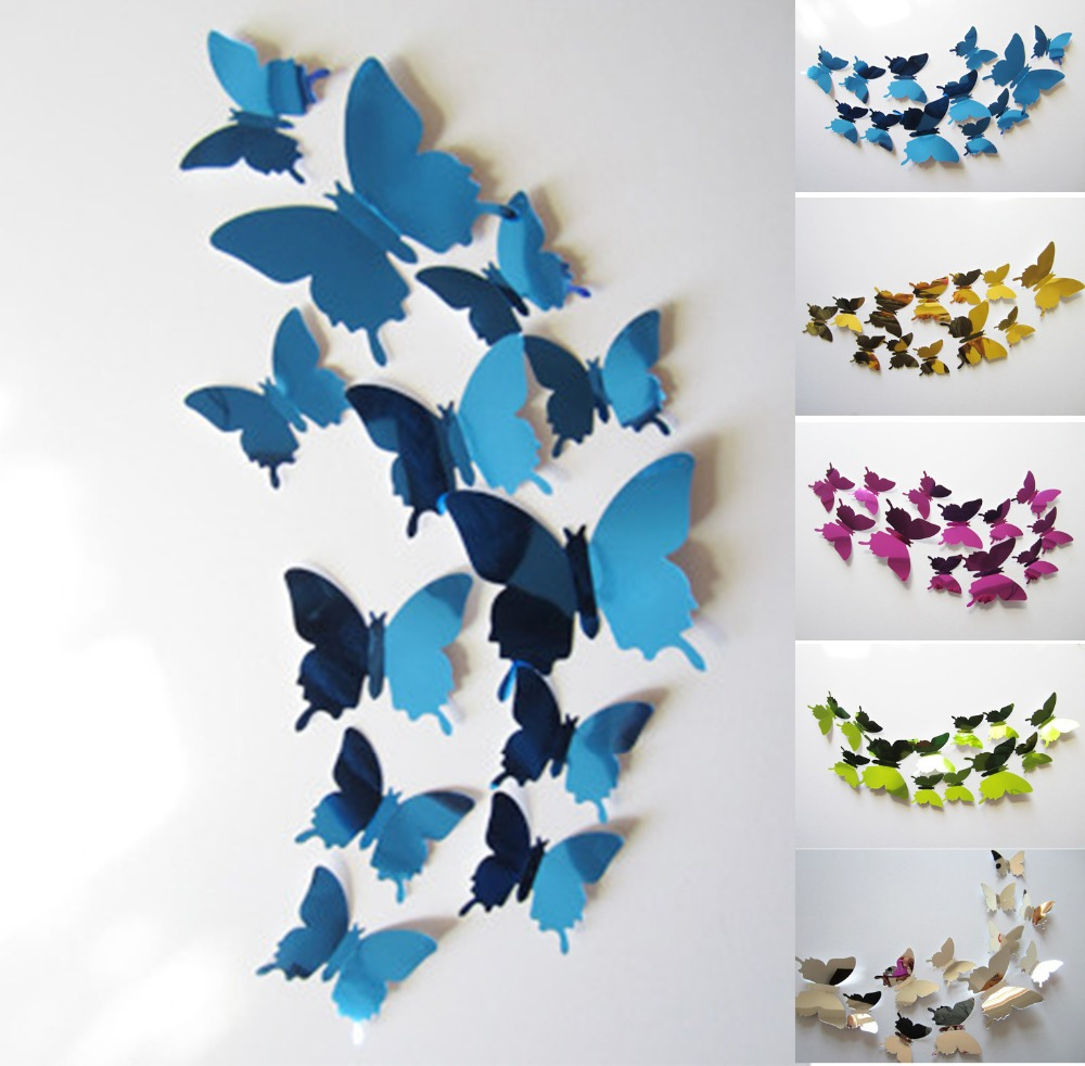 Diy Home Decoration Fashion Mirror Surface Of The Mirror Wall Stickers Living Room Wall home decor 3D Butterfly(China (Mainland))