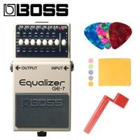 Boss GE 7 7 Band EQ Pedal, 7 band EQ Guitar Stompbox Pedal Bundle with Picks, Polishing Cloth and Strings Winder