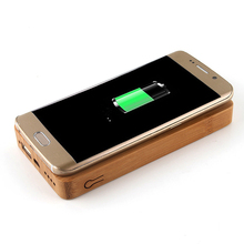 Bamboo Qi Wireless Charger Powerbank 6000mAh Fast Rechargeable External Battery Poverbank Charging Pad For iphone X/Samsung S8