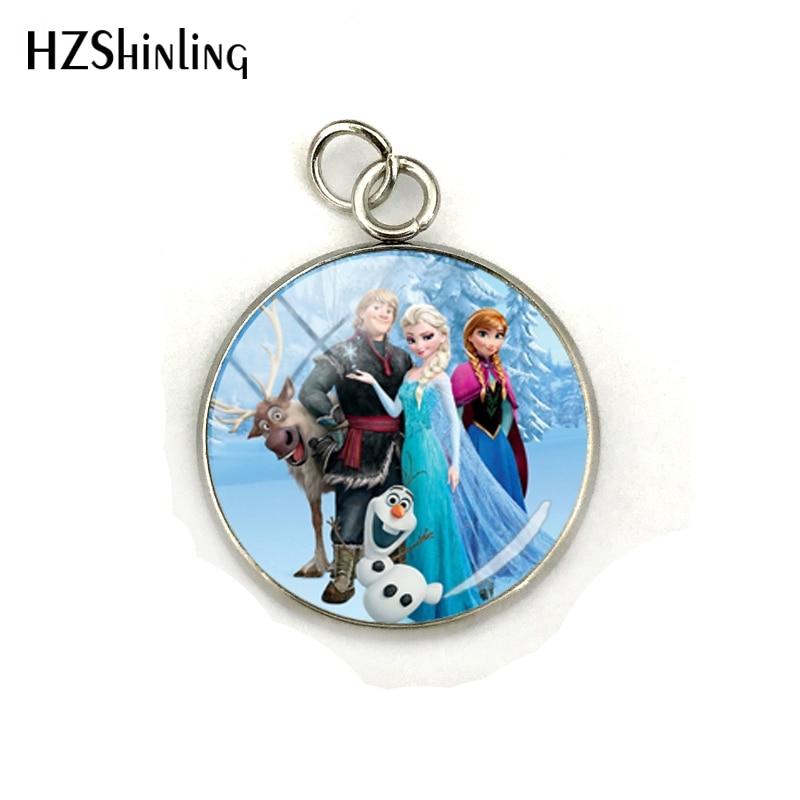 Новая мода Снежная королева принцесса Эльза Анна стеклянный кабошон подвески ювелирные изделия ручной работы нержавеющая сталь покрытием кулон подарки - Окраска металла: 1