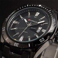 CURREN Brand Military Men Wrist Watches Full Steel Men Famous Business Quartz Watch Clock Male Date