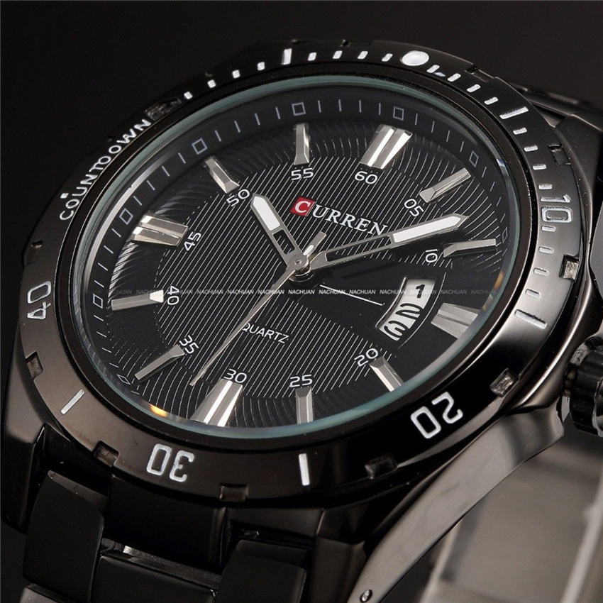 CURREN Brand Military Men Wrist Watches Full Steel Men Famous Business Quartz Watch Clock Male Date Waterproof Relogio Masculino natate men new business clock fashion men watch full gold stainless steel quartz wrist watch chenxi waterproof watch 0140