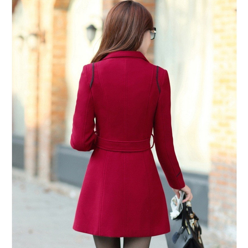YAGENZ M-3XL Autumn Winter Wool Jacket Women Double Breasted Coats Elegant Overcoat Basic Coat Pockets Woolen Long Coat Top 200 4