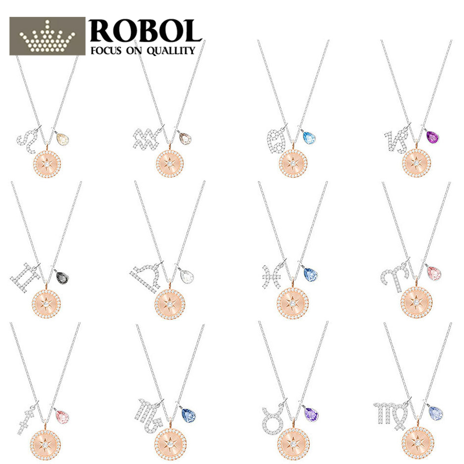 ROBOL Zodiac Pendant Rhodium Plating Original Copy SWA Necklace 100% Foundation Manufacturer Wholesale Free MailROBOL Zodiac Pendant Rhodium Plating Original Copy SWA Necklace 100% Foundation Manufacturer Wholesale Free Mail