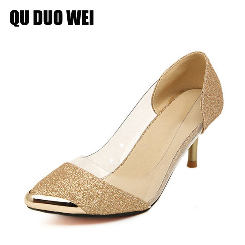 ФОТО 2017 New Women Pumps Shoes Fashion Bling Sequined Thin High Heels Pumps Golden Sliver Wedding Shoes Woman Size Plus 35-40