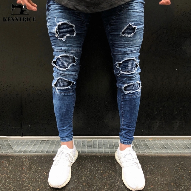 KENNTRICE Hip Hop Popular High Street Punk Ripped Jeans For Men Hole Destroyed Elastic Denim Jeans Pants Straight