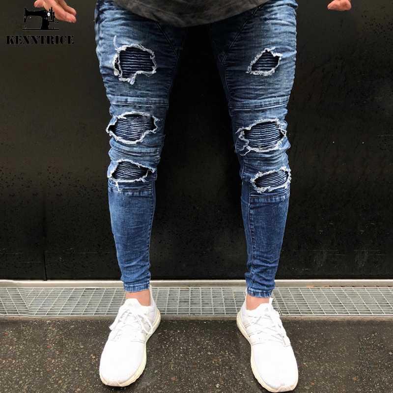 1d857227204 ... KENNTRICE Hip Hop Popular High Street Punk Ripped Jeans For Men Hole  Destroyed Elastic Denim Jeans ...