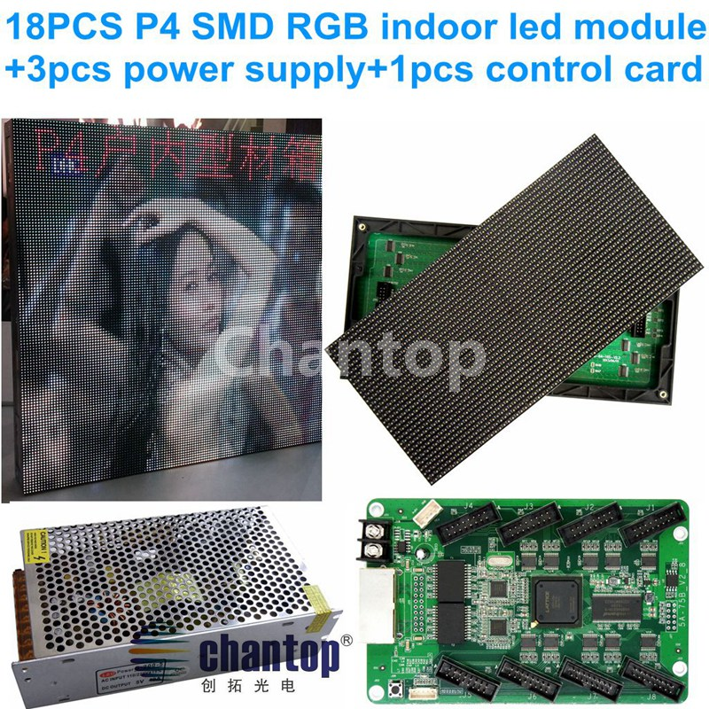 free shipping p4 full color smd led indoor display module 256*128mm 18pcs +1pc rgb video controller card+3pcs power switch panel dmx512 digital display 24ch dmx address controller dc5v 24v each ch max 3a 8 groups rgb controller