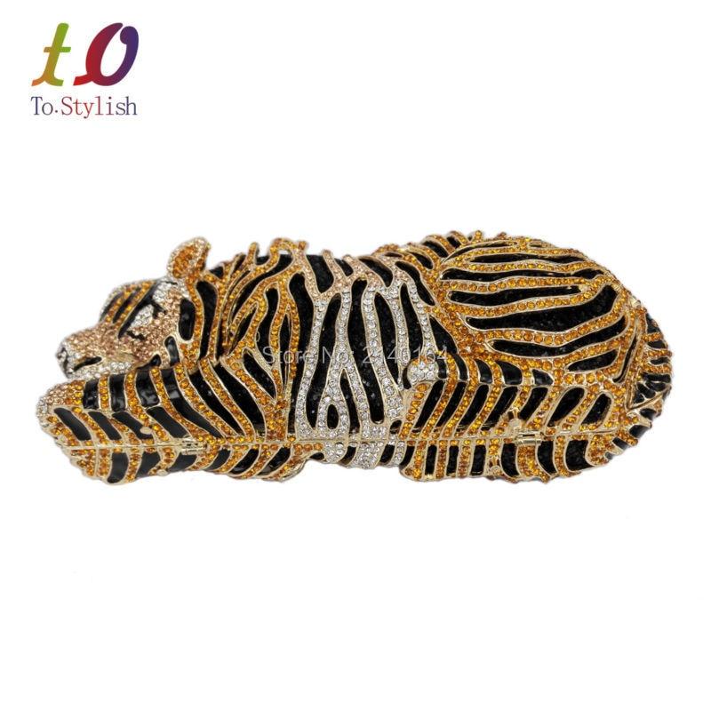 Elegante Tiger Animal Bolso de Tarde del Diamante de Lujo de Oro de Diamante de