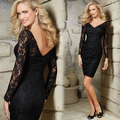 Elegant V-Neck Cocktail Dress Black Lace Beaded Vestidos De Festa Sheer Long Sleeves Knee-Length Party Gowns D24